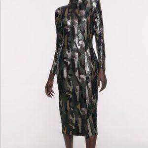 🔥Zara🔥Animal Print Sequin Dress
